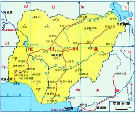 尼日利亚旅游地图
