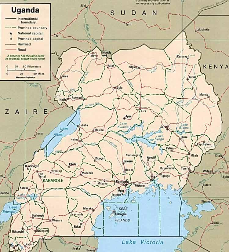 乌干达旅游地图-目的地指南