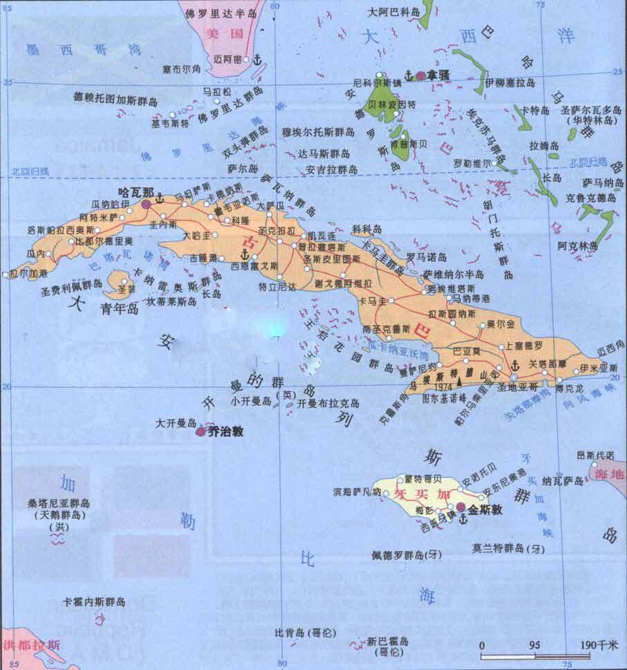 古巴旅游地图