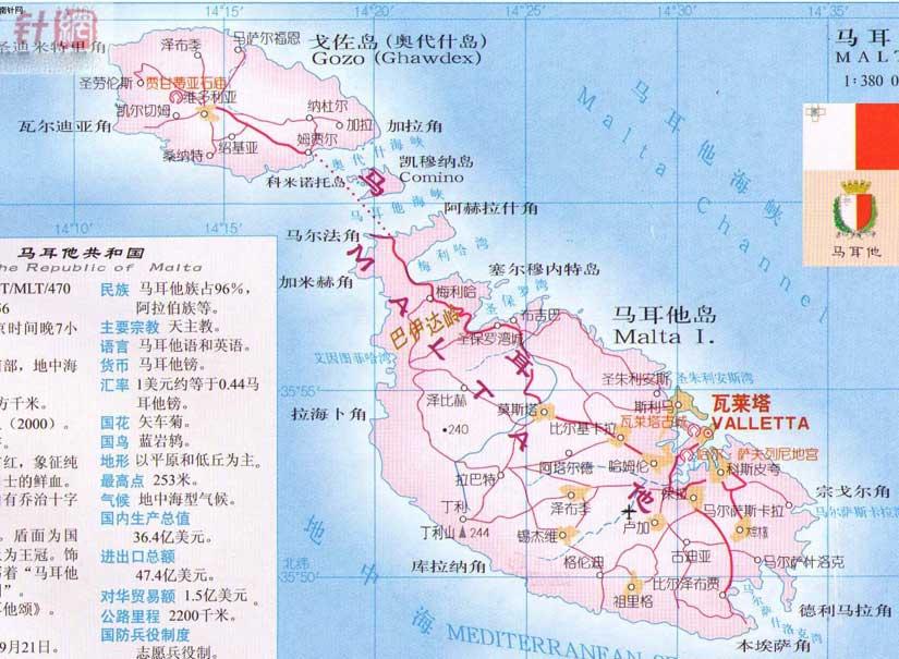 马耳他旅游地图