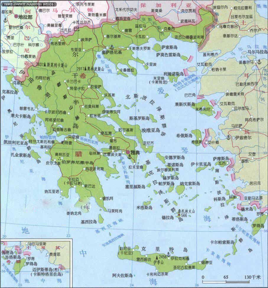 希腊旅游地图