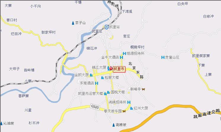 贵州凯里地图 贵州省凯里市飞机路线地图全图